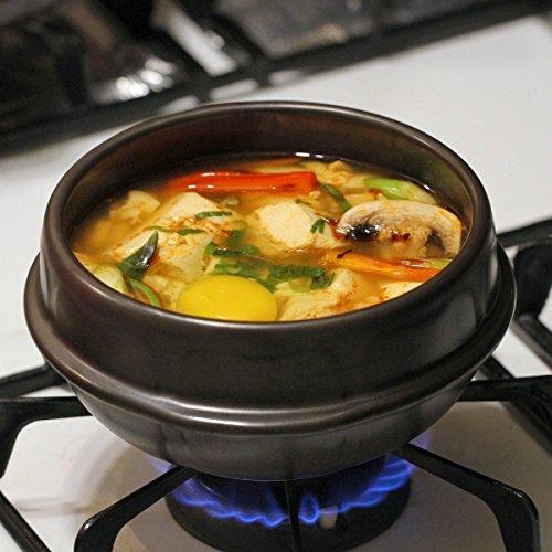 Crazy Korean Cooking Stone Bowl (Dolsot), Sizzling Hot Pot for Bibimbap and Soup Premium Ceramic No Lid, Medium by Crazy Korean Cooking (Image #3)