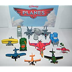 Disney Planes Movie Deluxe Party Favors Goody Bag Fillers Set of 12 Figures with Dusty, Chupacabra, 2 Fighter Jets, the Trophy and More!