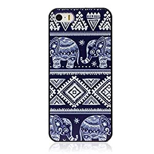 Fashion Blue Elephant Pattern Hard Skin Case Cover for iPhone 5 5G 5S Designed by HnW Accessories