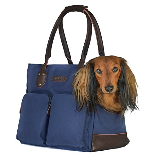 Dog Leather Tote - DJANGO Dog Carry Bag - Waxed Canvas and Leather Soft-Sided Pet Travel Tote with Bag-to-Harness Safety Tether & Secure Zipper Pockets (Navy Blue)