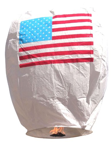 Eclipse American Flag Chinese Flying Sky Lantern (Set of 5) - Flying Chinese Sky Lanterns by Just Artifacts