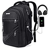 KUSOOFA Laptop Backpack, College Bookbag with USB Charging Port and Headphone Interface for Teen Boy, Student Backpack with 17.3 inch Laptop Compartment for Men School Business Travel