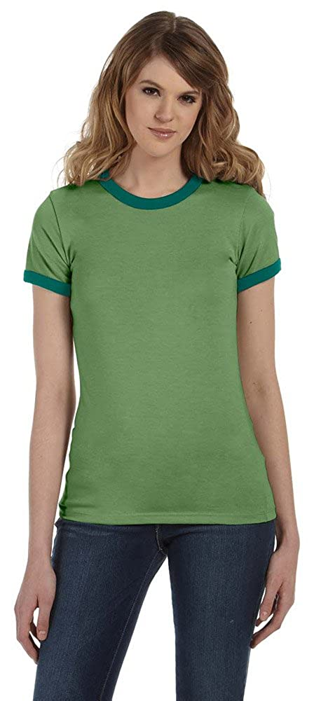 5a21a01c Bella + Canvas Womens Jersey Short-Sleeve Ringer T-Shirt (B6050) HTHR  GREEN/FOREST at Amazon Women's Clothing store: