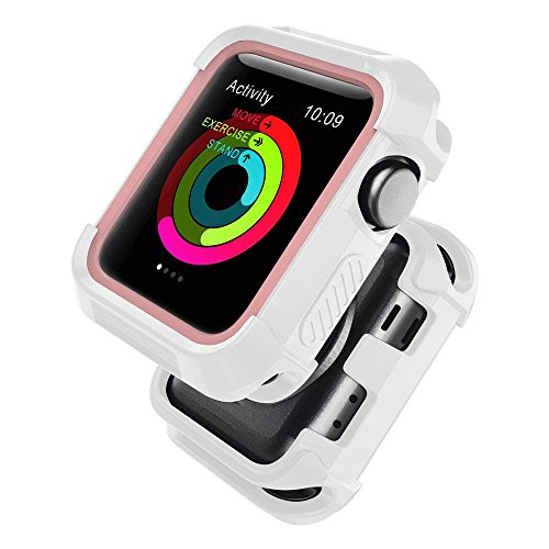 UMTELE Compatible with Apple Watch Case 38mm, Shock Proof Bumper Cover Scratch Resistant Protective Rugged Case Replacement for Apple Watch Series 3, Series 2, Series 1 38mm, White/Pink