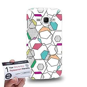 Case88 [Samsung Galaxy Ace 3] 3D impresa Carcasa/Funda dura para & Tarjeta de garantía - Art CMYK Geometric Print Hexagonal