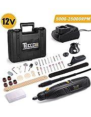 Outil Rotatif Electrique Batterie, TECCPO 12V sans fil, facile à transporter, 6 Vitesses Réglable 5000-25000RPM, Mandrin Universel 0.8mm - 3.2mm, Conception Aérodynamique, 80 Accessoires TECCPO