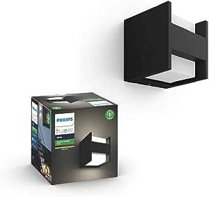 Philips Hue White LED Fuzo Wall Lantern, Edge Black, Compatible with Alexa