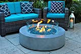 AKOYA Outdoor Essentials 42″ Round Modern Concrete Fire Pit Table w/Glass Guard Crystals in Gray (Clear Crystals) Review
