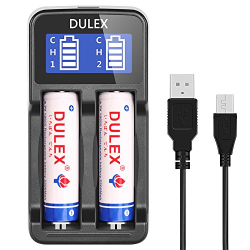 Buy Lithium Ion Batteries (DULEX 18650 Battery and charger, Universal Smart LCD Display Rechargeable lithium ion Battery Charger with 2-pack 3.7v 18650 li-ion Rechargeable batteries)