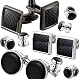 3 Pairs Value Set Mens Cuff Links and Studs Set Tuxedo Shirts Business Wedding