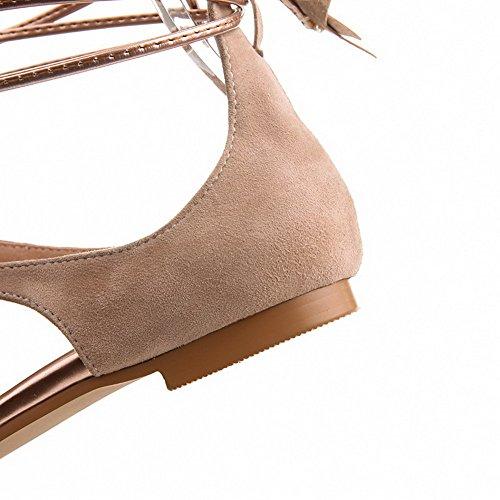 Amoonyfashion Kvinna Delad Tå No-häl Mjukt Material Fast Lace-up Sandaler Guld