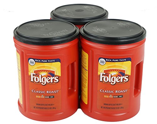 Folgers Classic Roast Coffee, Medium Roast, 48 Ounce Canister, 3 Pack