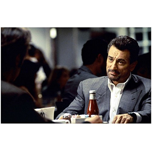 Robert De Niro in Gray Suit Jacket and White Button Down Sitting at Table Ketchup Bottle 8 x 10 inch - Suit Nero