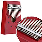 Mbira Kalimba Thumb Piano - 10 Keys African Musical Instruments | For Story Telling and Singing Accompaniment | 17 x 12.5 x 3 cm/6.69'' x 4.92'' x 1.18'' | Red