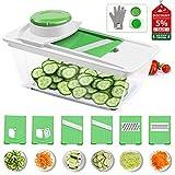 CORAFEI Mandoline Slicer Spiralizer-Vegetable Cutter with 6 Interchangeable Stainless Steel Blades Kitchen Food