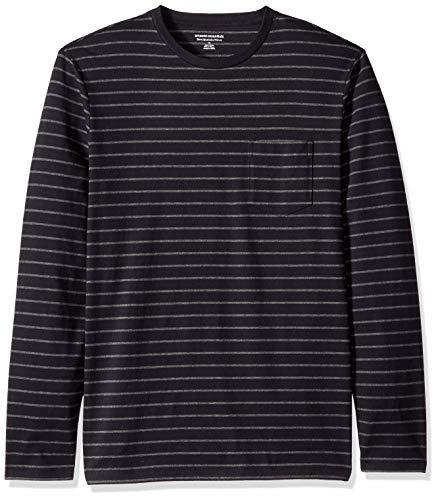 Amazon Essentials Men's Slim-Fit Long-Sleeve Pocket T-Shirt, Black/Charcoal Heather Stripe, Small