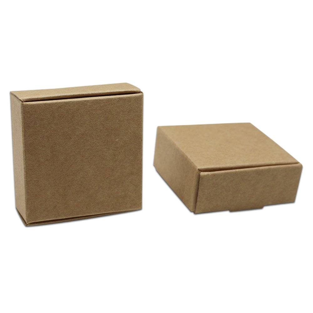 100 PCS 1.97''x1.97''x0.79'' Small Gift Package Mini Paper Box Jewelry Rings Pearl Decoration Storage Recyclable Brown Kraft Paper Boxes (5x5x2cm) PABCK