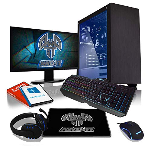 ADMI Gaming PC Package: AMD Dual Core A10-9700 QUAD Core, 8GB Ram, 1TB HDD, 22' LED Monitor WiFI, Tempered Glass Case Windows 10 PC