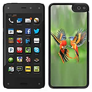 Smartphone duro PC Carcasa Funda protectora para Amazon Fire Phone/Phone Case TECELL Store/Green Tropical Birds Flight Feather Orange