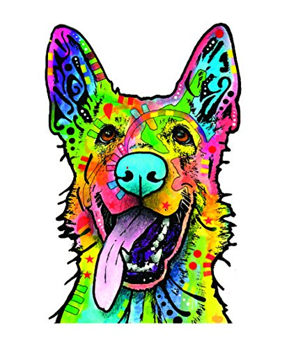Shepherd Sticker Dog (Enjoy It Dean Russo German Shepherd Car Sticker, Outdoor Rated Vinyl Sticker Decal for Windows, Bumpers, Laptops or Crafts)