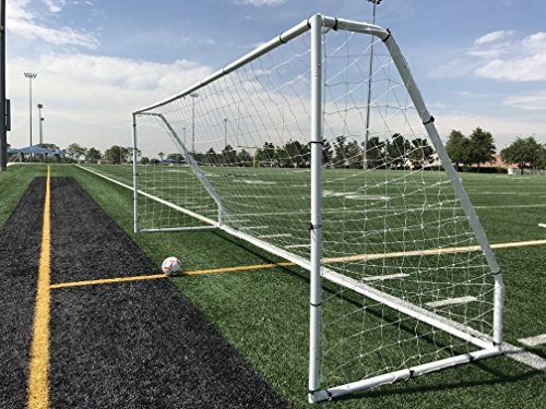 Pass Premier 18.5 X 6.5 Ft. Official Youth Regulation Steel Soccer Goal. 2″ Diameter Steel Frame w/Durable 4mm Net, Ground Stakes, Elastic Clasp & Re-Usable Ties. 18.5×6.5 Foot. For Sale