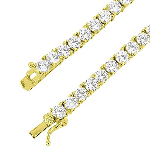 Solitaire Yellow Bracelet (1 Row Tennis Link Solitaire Bracelet 7.5 Inches Yellow Gold Tone 4MM Thick Lab Created Diamond)