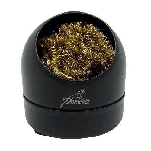 Soldering Iron Tip Cleaner Brass Wire Ball with Base Holder Horsebiz