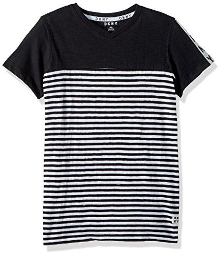 DKNY Boys Short Sleeve Henley Made of Slub Skip Mini Stripe Jersey