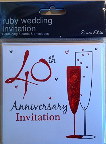 40th Ruby Wedding Anniversary Party Invitations - 6 Cards with 6 White Envelopes ()