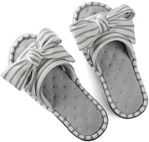 2ded782fa4ace ULTRAIDEAS Women s Memory Foam Open Toe Slide Slippers with Adjustable  Strap and Cozy Terry Lining