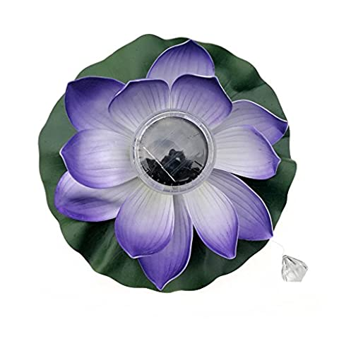 cici store Solar Floating Lotus Flower LED Light for Fountain Pool Pond Garden Night light (purple) - 100w 100' Cord