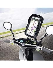 """WACCET Ajustable Support Telephone Moto Imperméable Anti-Vibrations Porte Smartphone Moto Etanche avec Rotation 360°, Support Téléphone Scooter avec Sun Visor pour Smartphone jusqu'à 6.5"""""""