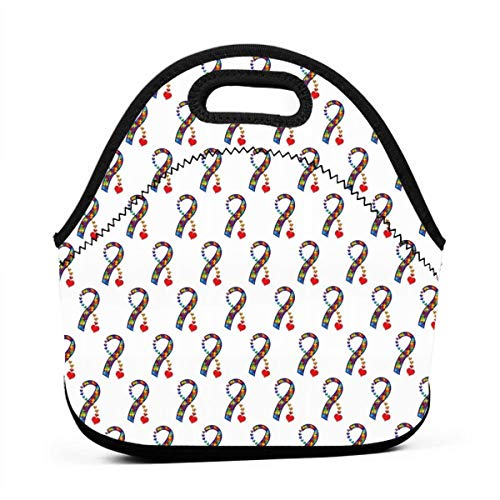 New Portable Thickening Lunch Box Takeaway Insulation Bag Lunch Bag Fashion Student Work Hand Bag Female Heart Autism Awareness Ribbon