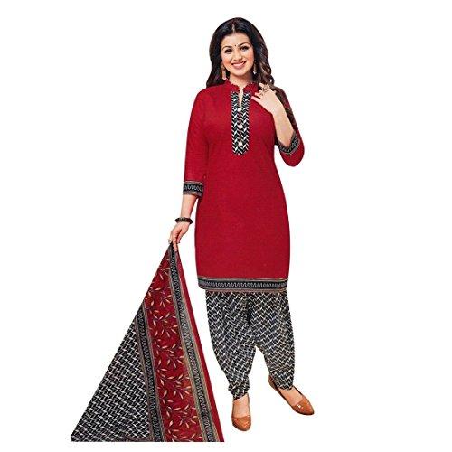 Designer Printed Cotton Salwar Kameez Ready Made Suit Indian Dress – 0X Plus, Red