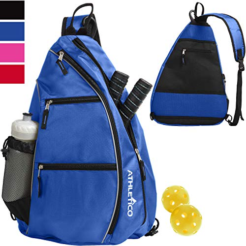 Athletico Sling Bag - Crossbody Backpack for Pickleball, Tennis, Racketball, and Travel for Men and Women (Blue)