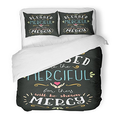 SanChic Duvet Cover Set Blessed are The Merciful Hand Lettering Typographic Beatitudes from Gospel Matthew Heart Decorative Bedding Set Pillow Sham Twin Size by SanChic