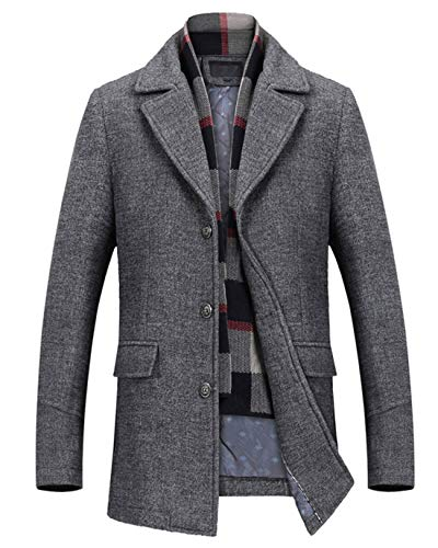 - Chartou Men's Classic Mid-Length Quilted Wool Car Coat with Detachable Scarf (Gray, XX-Large)