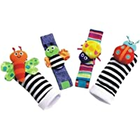 Leorealko Infant Soft Toys Animal,1 Set Plush Toy Wrist Rattle Colorful Bee with Foot Socks Cute for Baby Gift