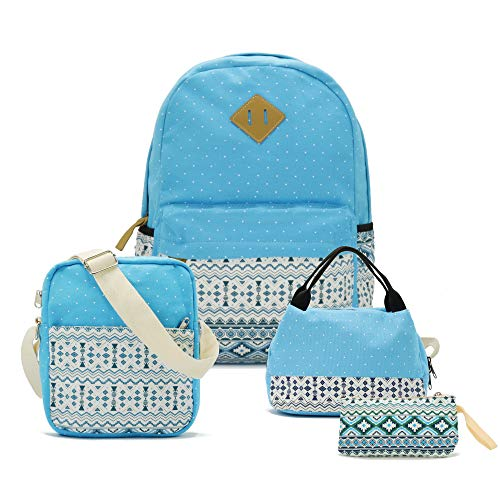 (Teenager Teen Girl Canvas School Backpack Lunch Pencil Shoulder Bookbag Set of 4)