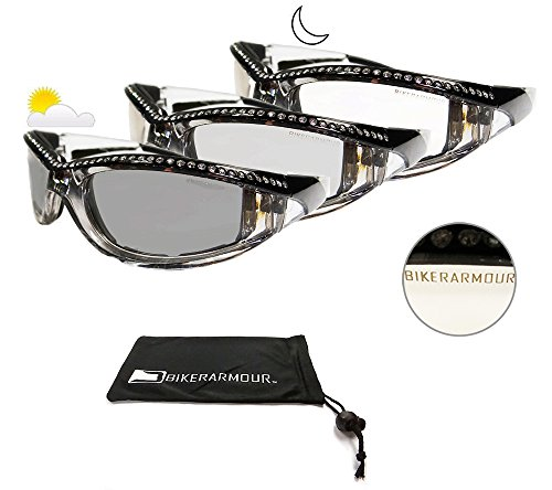 Motorcycle Day Night Transition Glasses for Women. Chrome and Black frame with - Transition Motorcycle Glasses