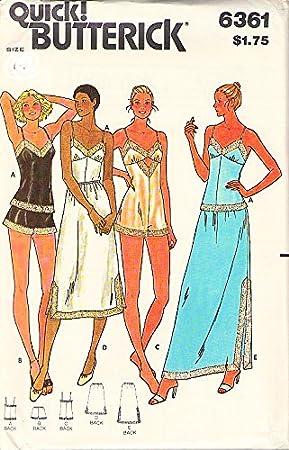 Butterick 6361 patrón de costura para patrones de costura para pantalones cortos ropa interior camiseta de