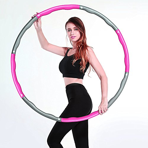 Weighted Hula Hoop,Removable Hula Hoop,Hula Hoop Fitness Exercise Workout GYM Professional Weighted,2.2lb,Abdominal Massage Weight Loss Waist Slimming Fitness Workout(Pink)