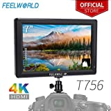 FEELWORLD T756 7 Inch DSLR Camera Field Monitor 4K HDMI Input Output Video Assist Full HD LCD Screen IPS 1920x1200 External Display with Peaking Focus False Colors Zebra Exposure