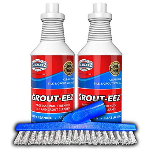IT JUST WORKS! Grout-Eez Super Heavy Duty Tile & Grout Cleaner and whitener. Quickly Destroys Dirt & Grime. Safe For All Grout. Easy To Use. 2 Pack With FREE Stand-Up Brush. The Floor Guys (Best Way To Clean Marble Tile)