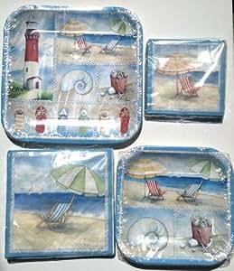 Beach Scene Paper Plates & Napkins Set