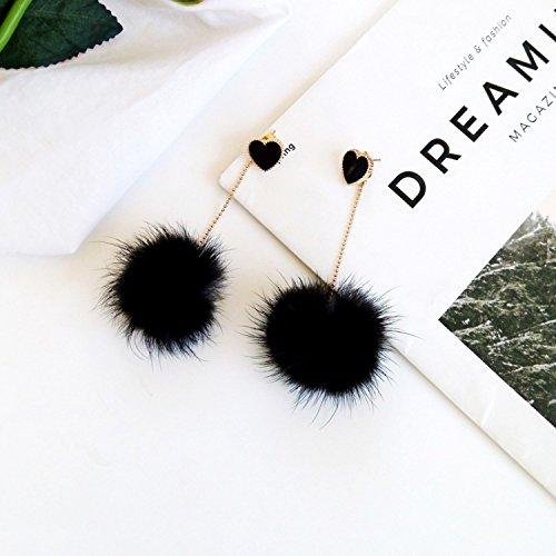 18K Gold Plated Black Onyx Agate Heart With Big Black Plush Balls Long Tassel Dangle Drop Earrings