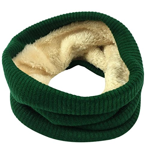 - Kimloog Women Men Double-Layer Soft Fleece Knitted Infinity Scarf Thick Cotton Neck Loop Scarves (Green)