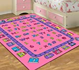 Kids Area Rug Design ABCD Fun Girls Pink (3 Feet 3 Inch X 4 Feet 10 Inch) Review