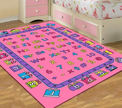 Kids Area Rug Design ABCD Fun Girls Pink (7 Feet 4 Inch X 10 Feet 4 Inch)