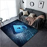Vanfan Design Home Decorative 122234134 Security concept blue opened lock on digital data background Illustrates information systems security and data privacy 3d render Modern Non-Slip Doormats Car